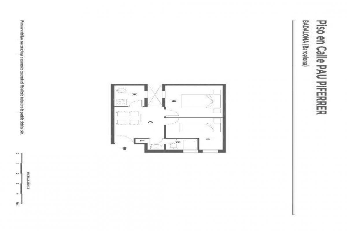 Piso en venta en Badalona, Barcelona, Calle Pau Piferrer, 60.000 €, 2 habitaciones, 1 baño, 39 m2