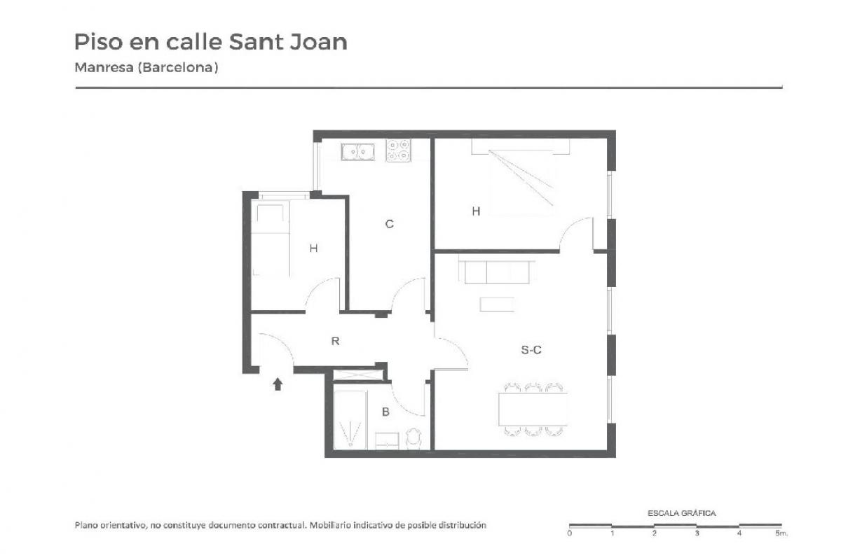 Piso en venta en Manresa, Barcelona, Calle Sant Joan, 78.500 €, 2 habitaciones, 1 baño, 71 m2