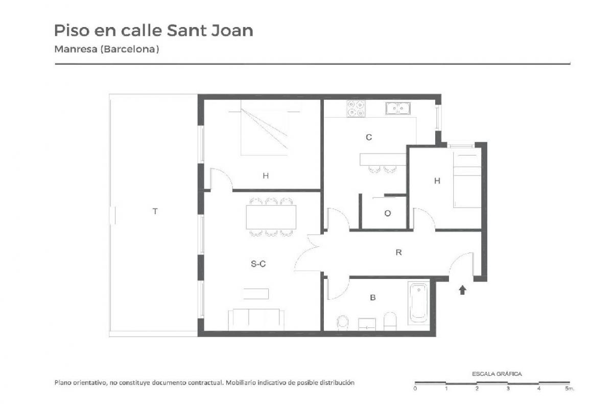 Piso en venta en Manresa, Barcelona, Calle Sant Joan, 77.000 €, 2 habitaciones, 1 baño, 77 m2