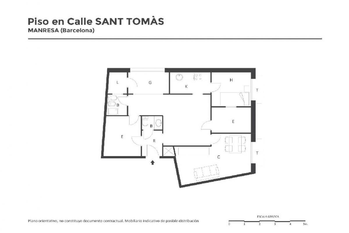 Piso en venta en Manresa, Barcelona, Calle Santo Tomas, 48.500 €, 1 habitación, 2 baños, 73 m2