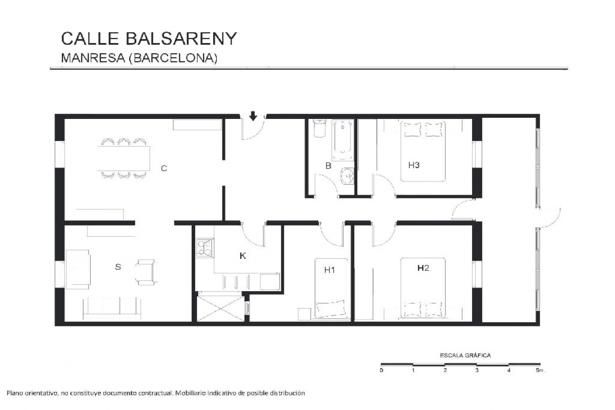 Piso en venta en Manresa, Barcelona, Calle Balsareny, 99.000 €, 3 habitaciones, 1 baño, 130 m2