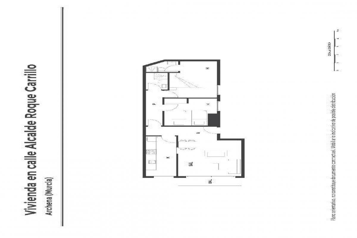 Piso en venta en Archena, Murcia, Calle Alcalde Roque Carrillo, 53.000 €, 2 habitaciones, 2 baños, 89 m2