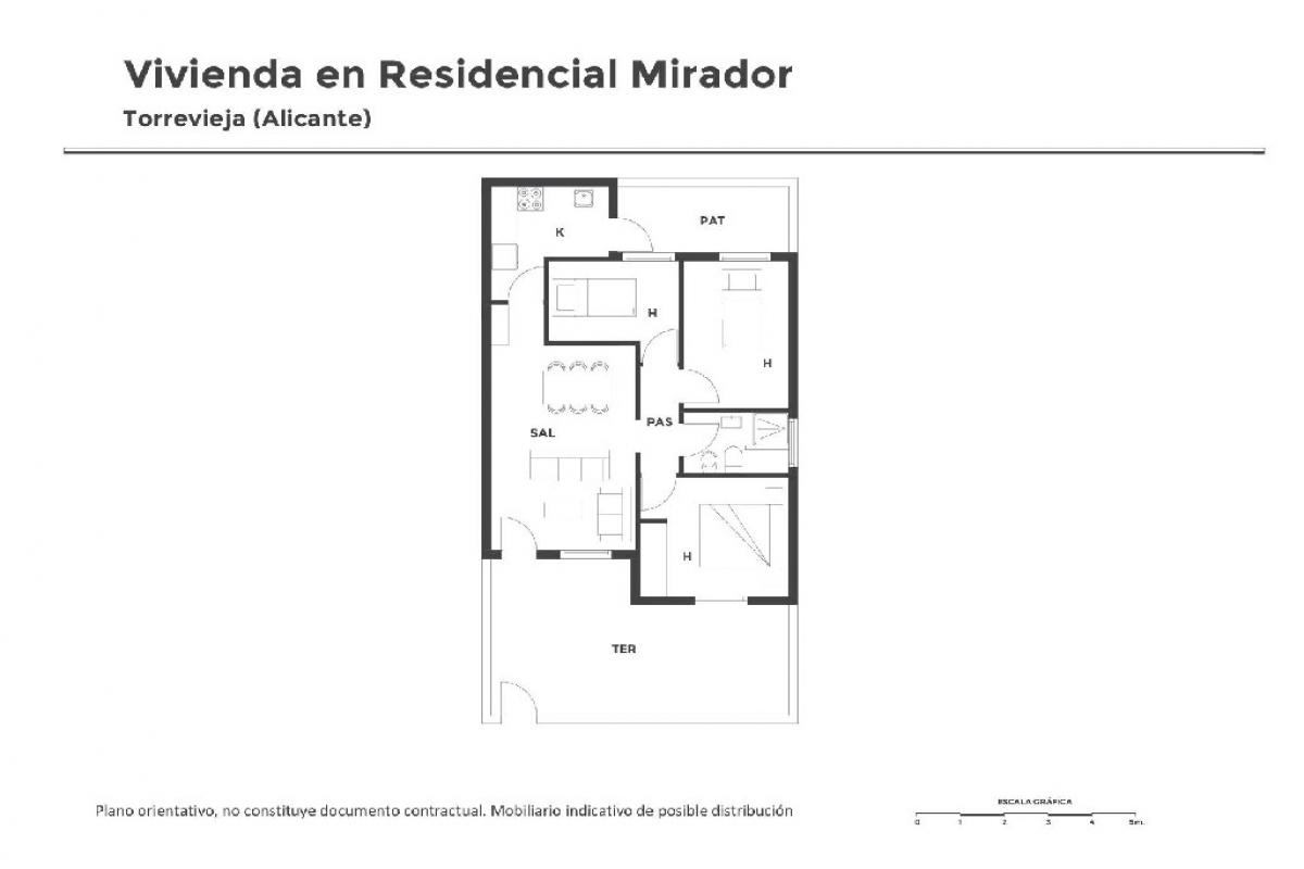 Piso en venta en Torrevieja, Alicante, Urbanización Residencial Mirador I, 57.500 €, 3 habitaciones, 1 baño, 64 m2