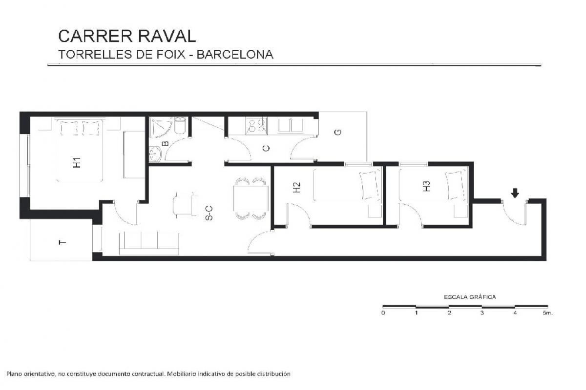 Piso en venta en Corral Nou, Torrelles de Foix, Barcelona, Calle Raval, 45.500 €, 3 habitaciones, 1 baño, 87 m2