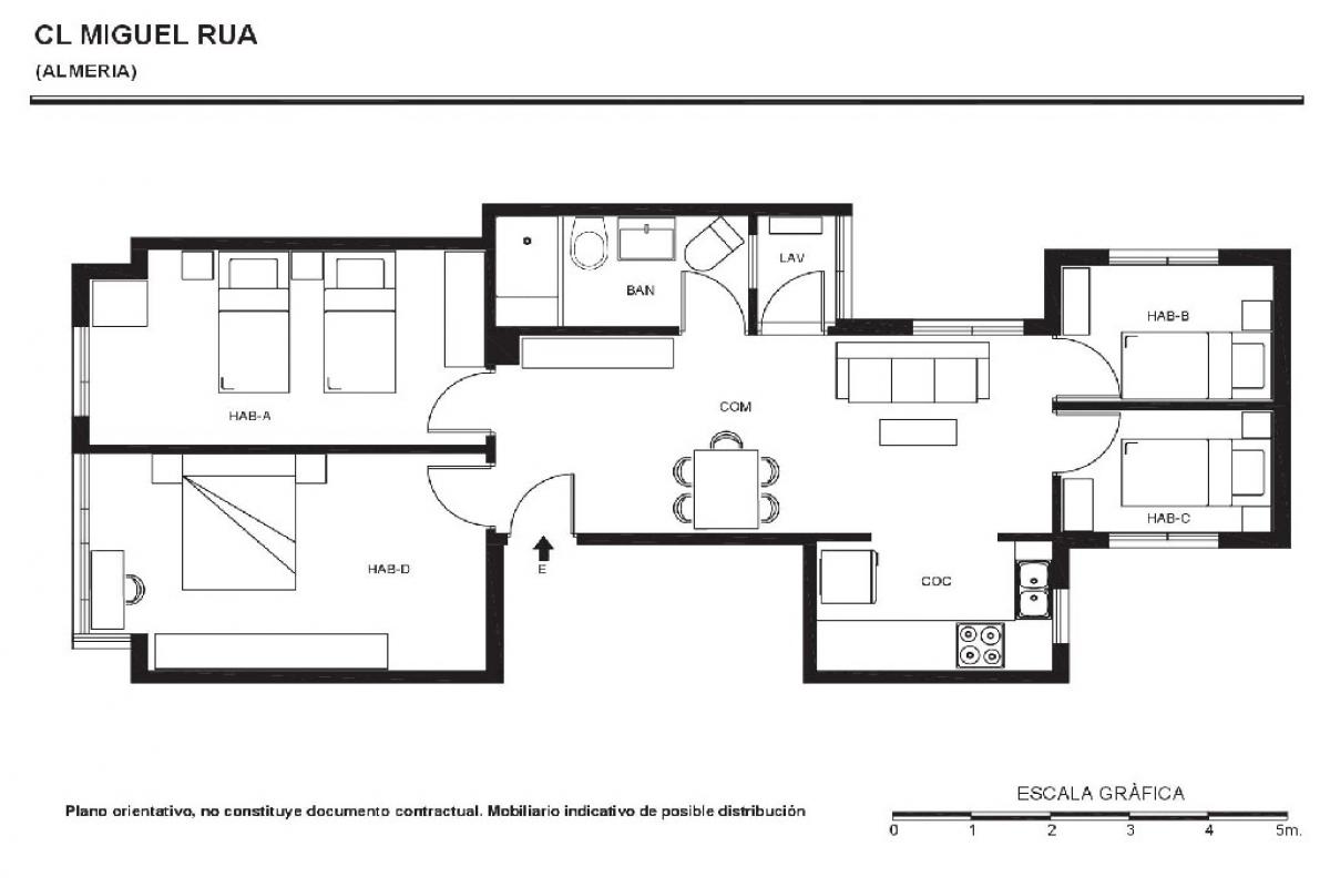 Piso en venta en Almería, Almería, Calle Miguel Rua, 71.500 €, 4 habitaciones, 1 baño, 87 m2