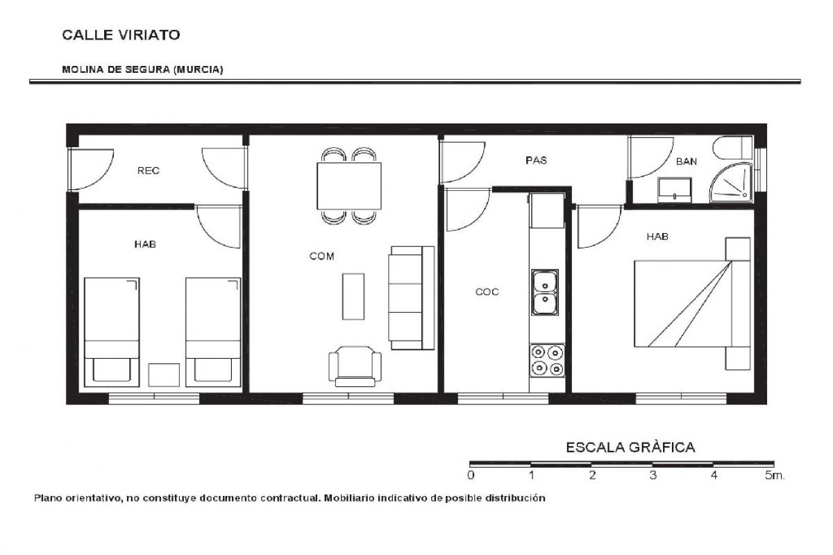 Piso en venta en Molina de Segura, Murcia, Calle Viriato, 45.500 €, 3 habitaciones, 1 baño, 64 m2
