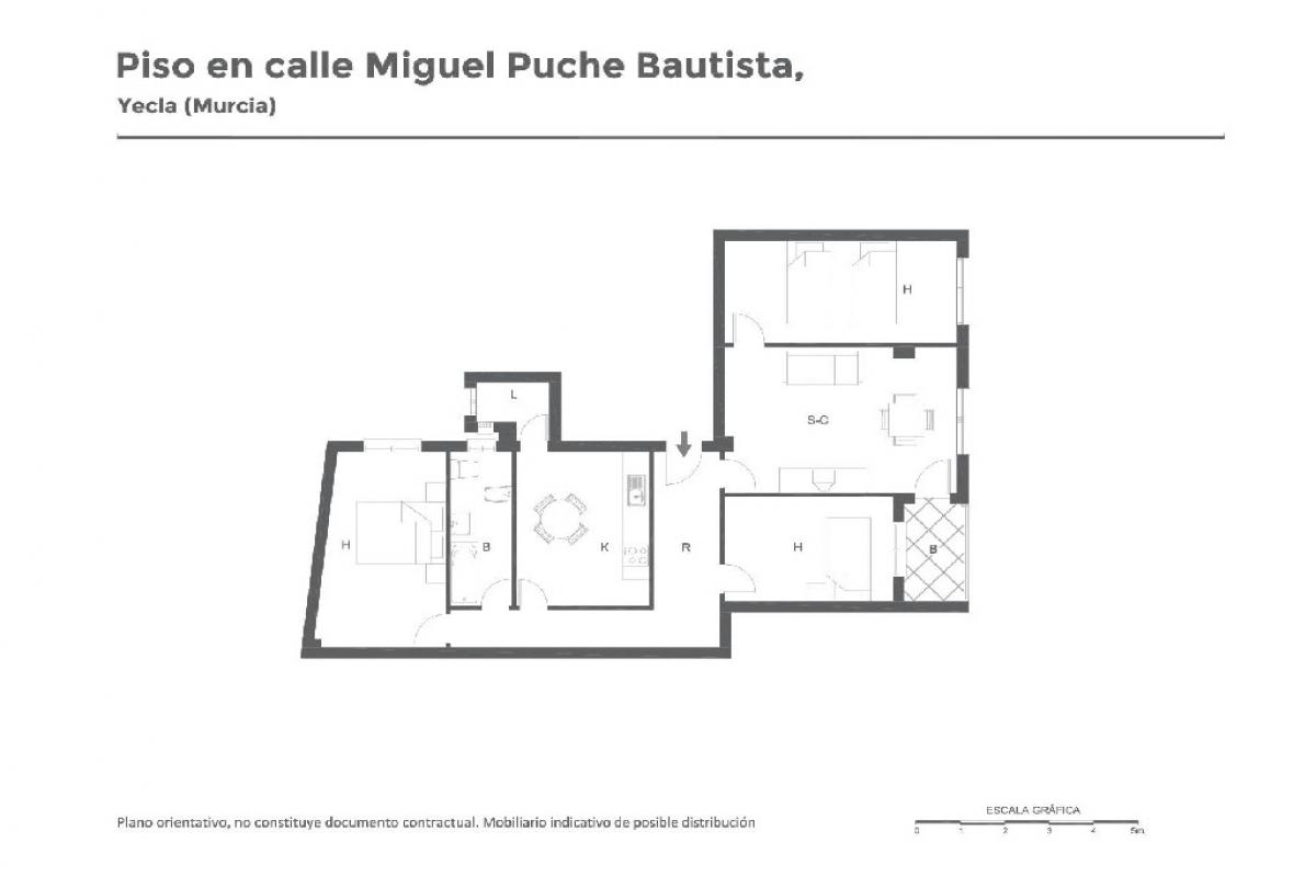 Piso en venta en Yecla, Murcia, Calle Miguel Puche Bautist, 37.500 €, 3 habitaciones, 1 baño, 106 m2