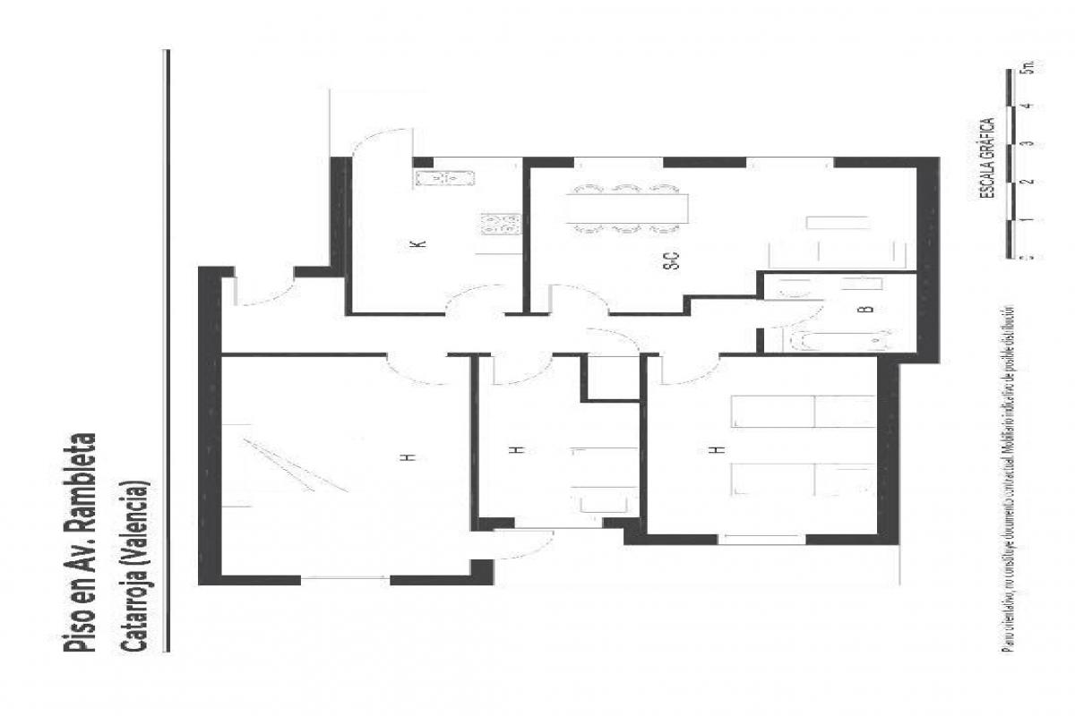 Piso en venta en Catarroja, Valencia, Avenida Rambleta, 75.000 €, 3 habitaciones, 1 baño, 113 m2