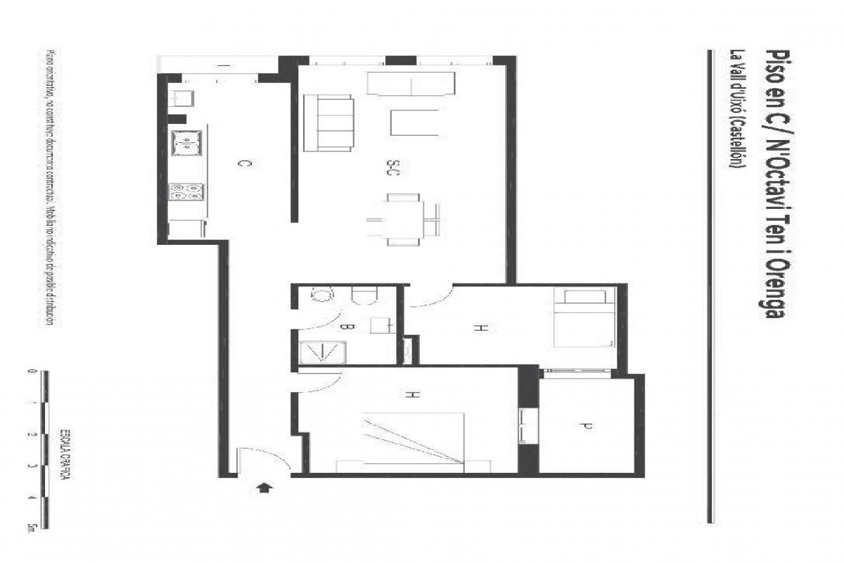 Piso en venta en La Vall D`uixó, Castellón, Calle Octavi Ten I Orenga, 76.000 €, 2 habitaciones, 1 baño, 78 m2