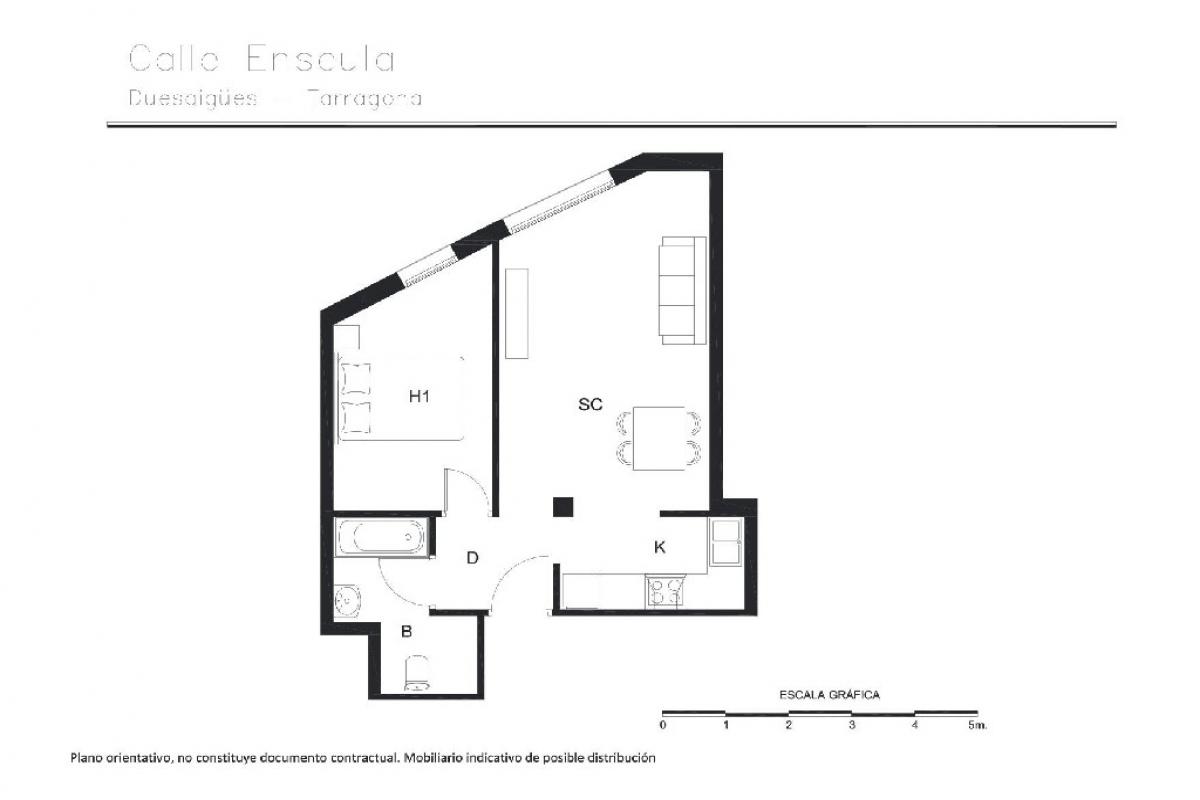 Piso en venta en La Pobla de Montornès, Tarragona, Calle Enseula, 49.500 €, 1 habitación, 1 baño, 54 m2