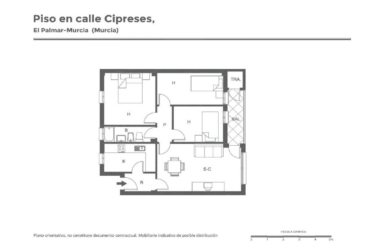 Piso en venta en Murcia, Murcia, Calle los Cipreses, 35.500 €, 3 habitaciones, 1 baño, 71 m2