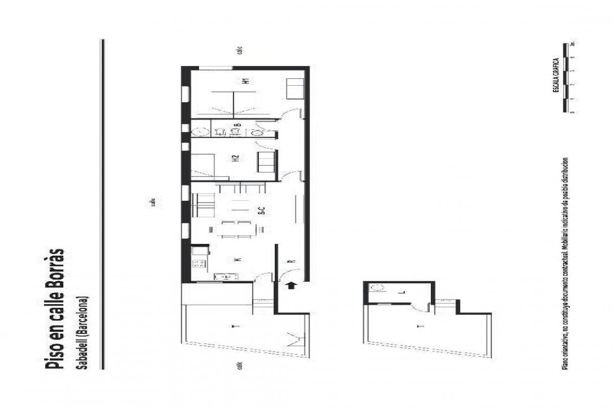 Piso en venta en Sabadell, Barcelona, Calle Borras, 216.000 €, 2 habitaciones, 1 baño, 105 m2