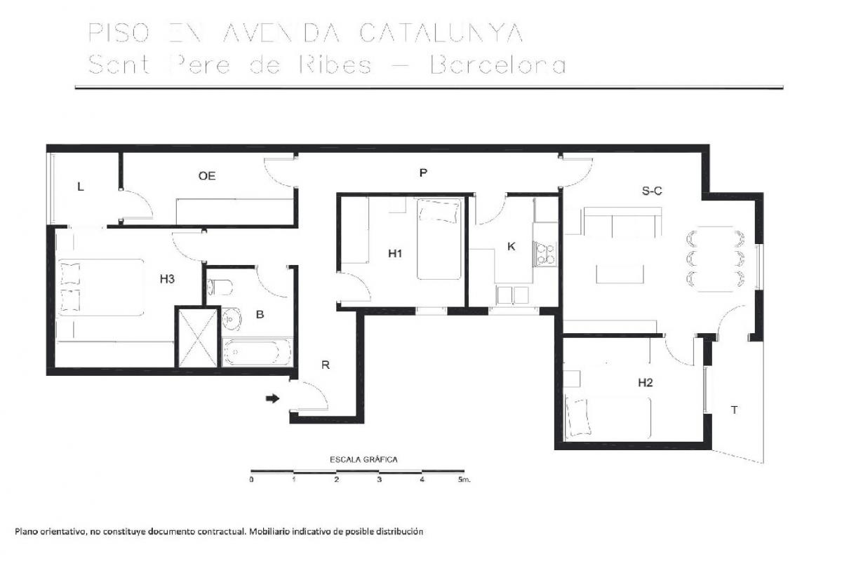 Piso en venta en Sant Pere de Ribes, Barcelona, Avenida Catalunya, 128.000 €, 4 habitaciones, 1 baño, 91 m2