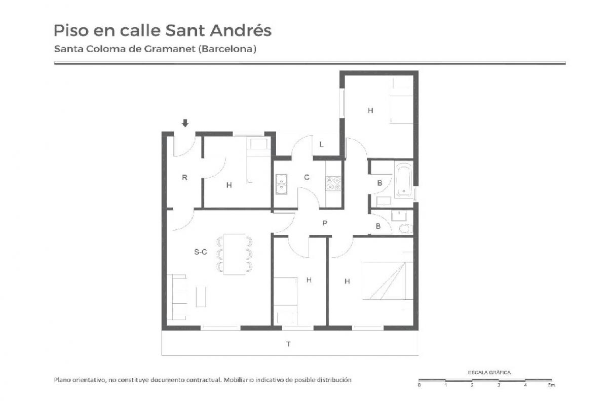 Piso en venta en Santa Coloma de Gramenet, Barcelona, Calle San Andres, 136.500 €, 4 habitaciones, 1 baño, 89 m2