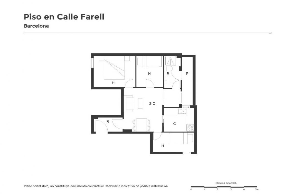 Piso en venta en Barcelona, Barcelona, Calle Farell, 222.000 €, 3 habitaciones, 1 baño, 56 m2