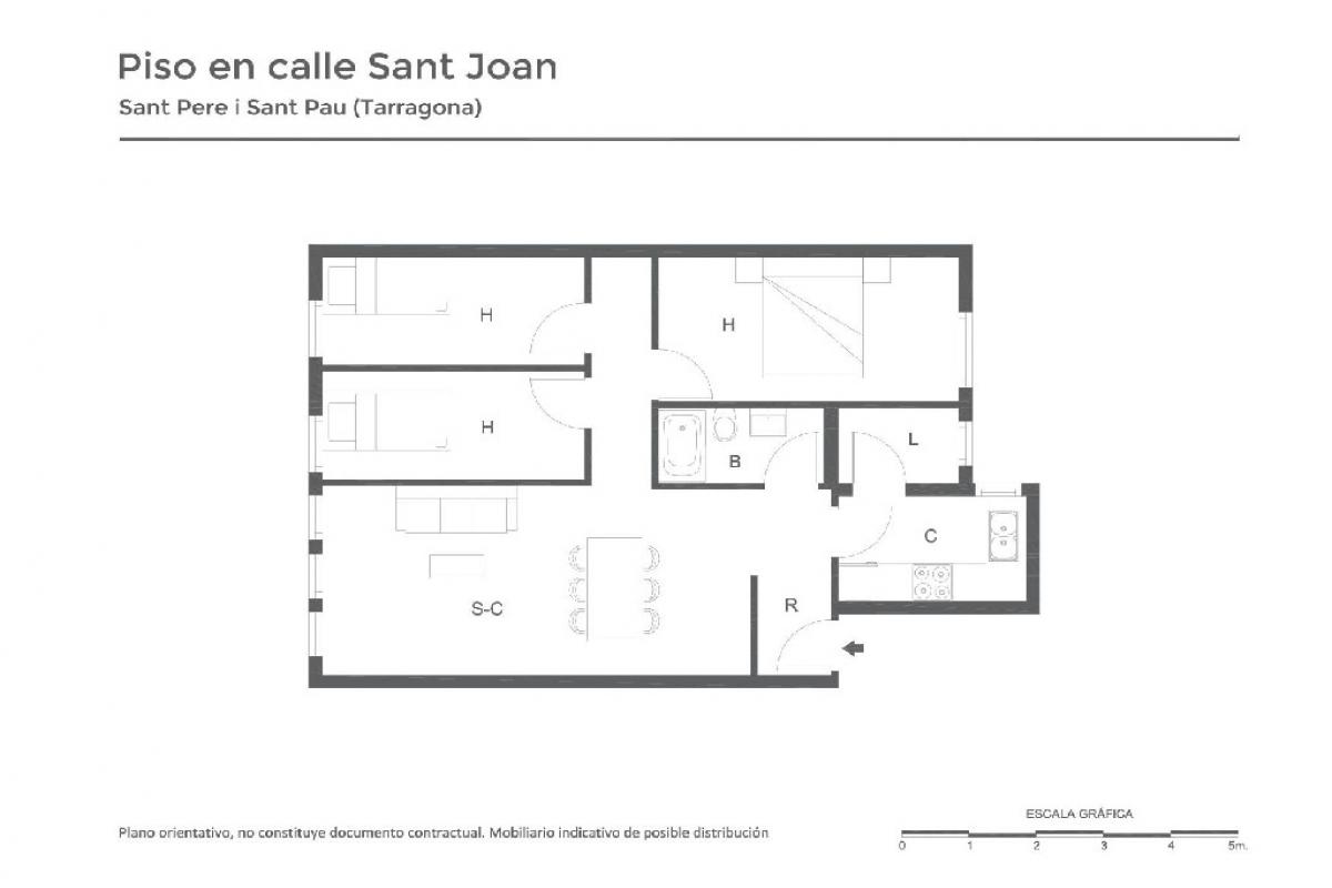 Piso en venta en Sabadell, Barcelona, Calle Valencia, 76.500 €, 3 habitaciones, 1 baño, 46 m2