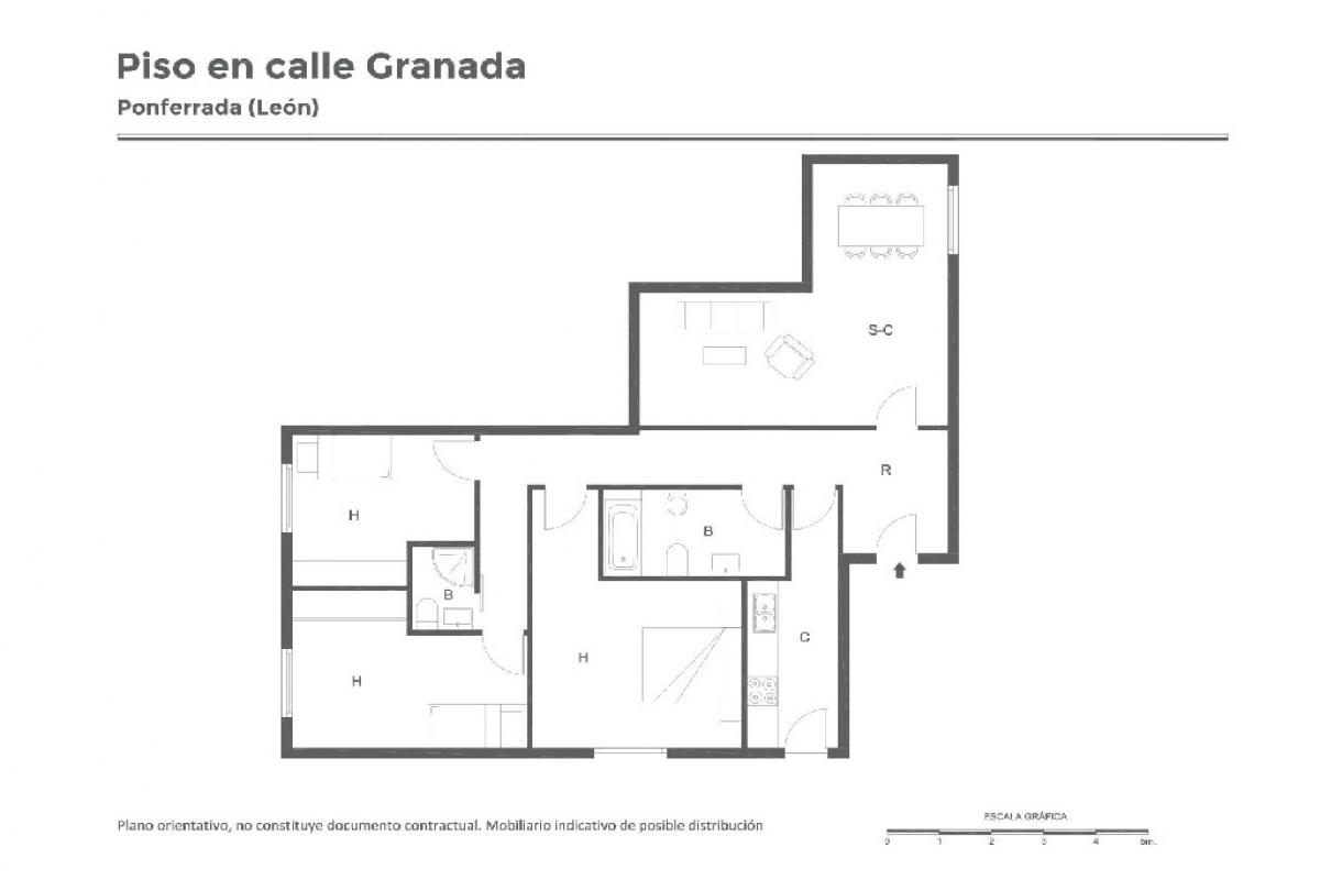 Piso en venta en Ponferrada, León, Calle Granada, 97.000 €, 3 habitaciones, 2 baños, 98 m2