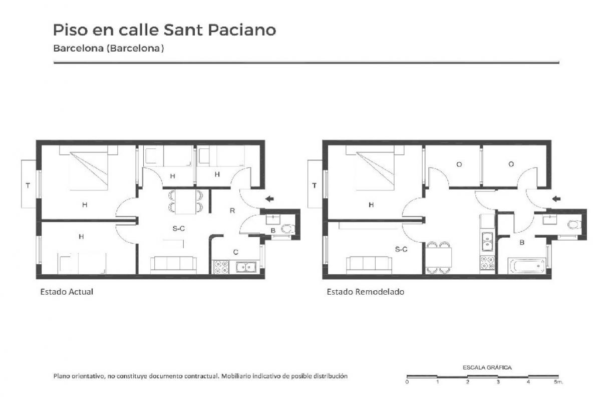 Piso en venta en Barcelona, Barcelona, Calle San Paciano, 260.000 €, 4 habitaciones, 1 baño, 56 m2