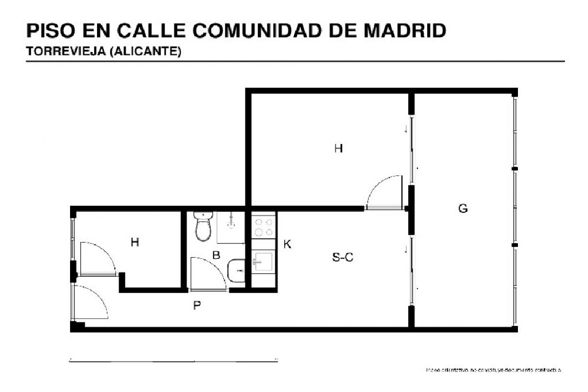 Piso en venta en Piso en Torrevieja, Alicante, 100.500 €, 2 habitaciones, 1 baño, 50 m2
