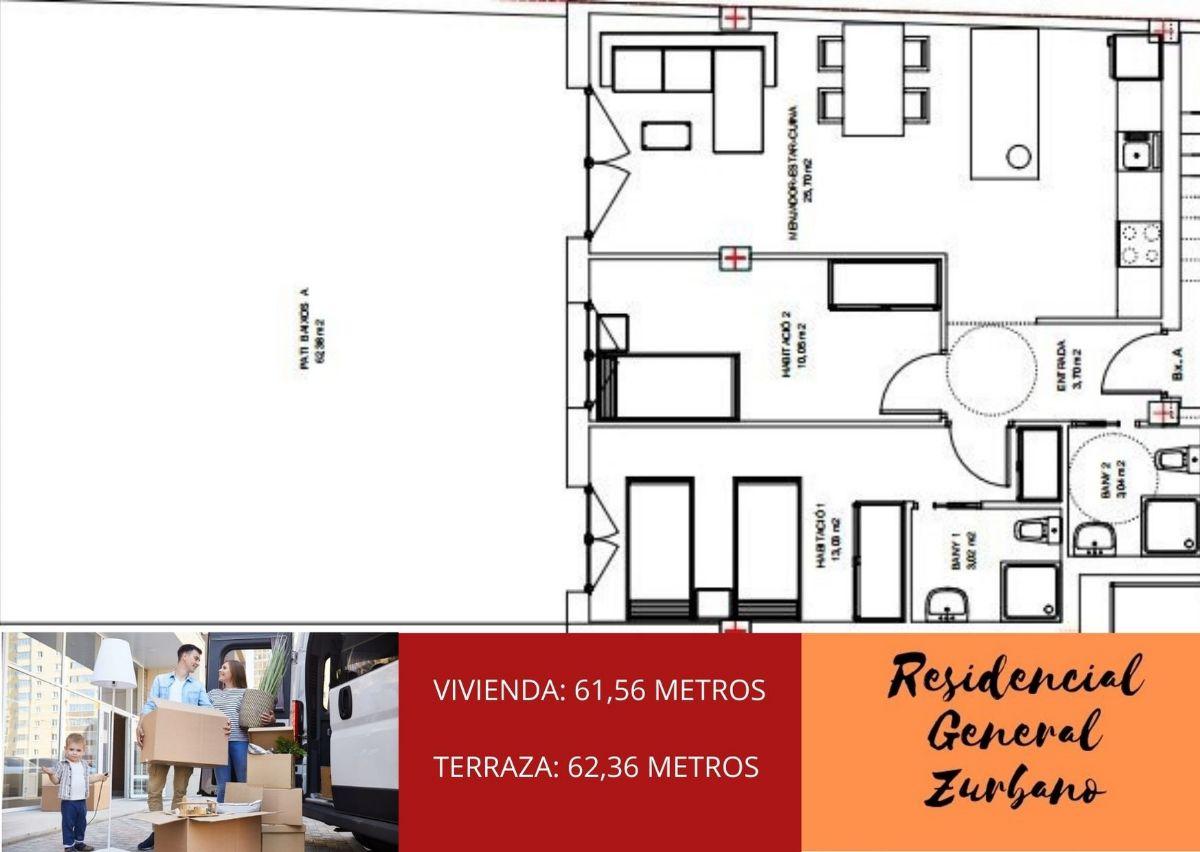 Piso en venta en Vilafranca del Penedès, Barcelona, Calle General Zurbano, 160.000 €, 2 habitaciones, 2 baños, 130 m2