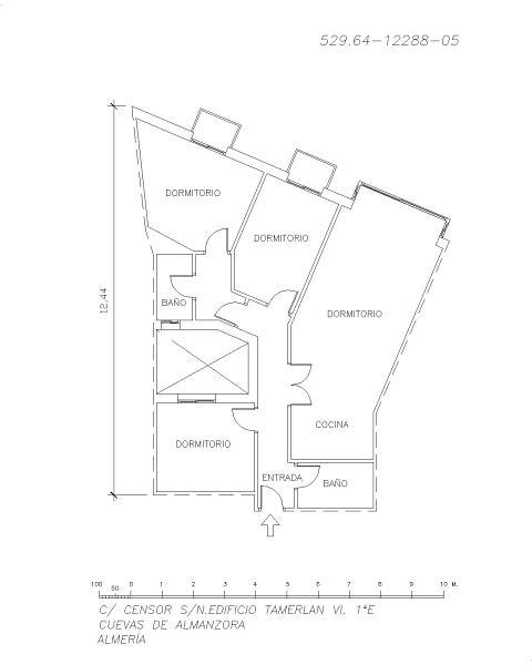 Piso en venta en Cuevas del Almanzora, Almería, Calle Censor, 74.000 €, 3 habitaciones, 2 baños, 91 m2