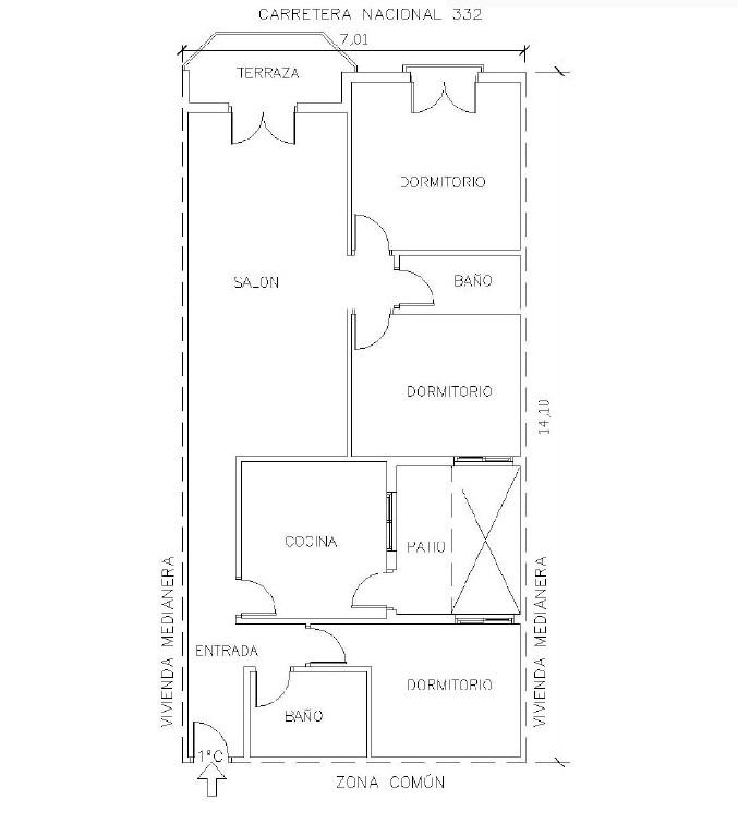 Piso en venta en Cuevas del Almanzora, Almería, Avenida Atrales, 82.000 €, 3 habitaciones, 2 baños, 98 m2