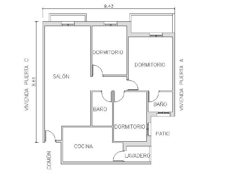 Piso en venta en Cuevas del Almanzora, Almería, Calle Puente del Azud, 67.000 €, 3 habitaciones, 2 baños, 99 m2