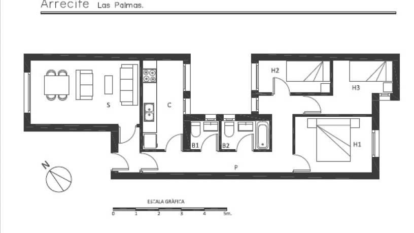 Piso en venta en Titerroy, Arrecife, Las Palmas, Calle la Cristina, 144.400 €, 3 habitaciones, 2 baños, 97 m2