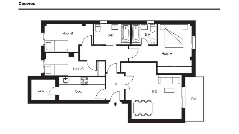 Piso en venta en Mejostilla, Cáceres, Cáceres, Calle Tolerancia, 96.700 €, 3 habitaciones, 2 baños, 113 m2